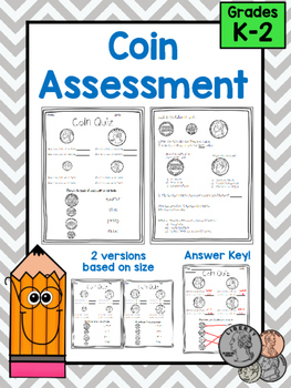 Coin Quiz Assessment, Match and Identify Quarter, Dime, Ni