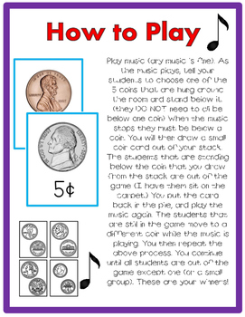 Coin Recognition JUST MOVE! (A Get Up and Move Around the Classroom Game)