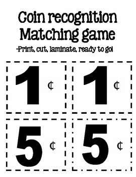 Coin Recognition Matching Game