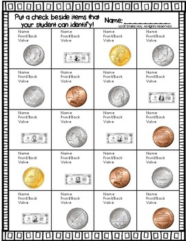 Coin Recognition Practice & Assessment