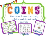 Coin Recognition & Value for Math Journals: Pennies, nickels, dimes, & quarters