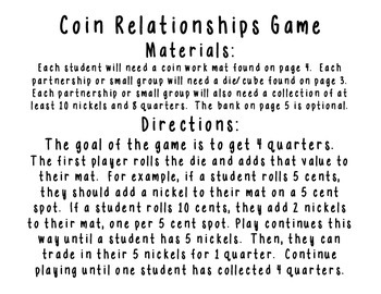 Show Me the Nickels - A Coin Relationship Game