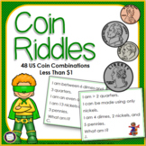 US Coins Money Riddle Task Cards