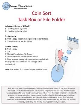 Coin Sort Task Box or File Folder