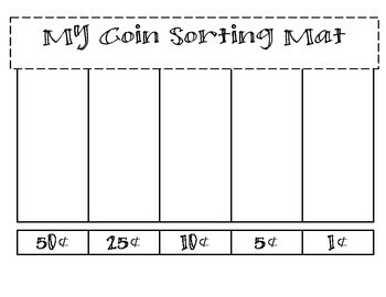 coin sorting mats by carrie comincioli teachers pay teachers. Black Bedroom Furniture Sets. Home Design Ideas
