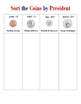 Coin Sorting by President, Sort Coins