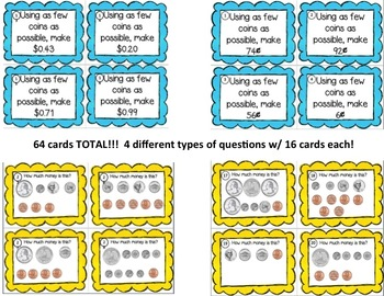 Coin Task Cards for Pennies, Nickels, Dimes & Quarters
