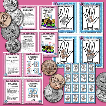 """Coin Task Cards plus 'CHALLENGE"""" Cards (Penny, Nickel, Dime, Quarter)"""