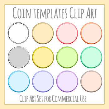 Coin Templates in Different Colors Clip Art for Commercial Use