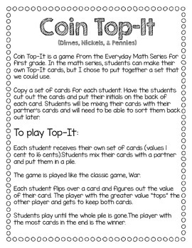 Coin Top-It Game (dimes, nickels, and pennies)