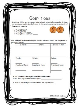 Coin Toss-probability activity