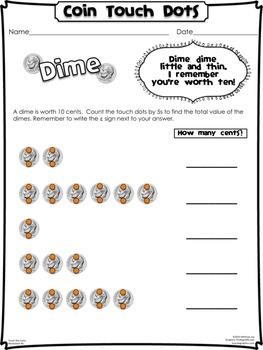 Coin Touch Dot Worksheets Pack