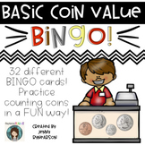 Coin Value BINGO! 32 Cards! Practice Basic Coin Values in a FUN Way!