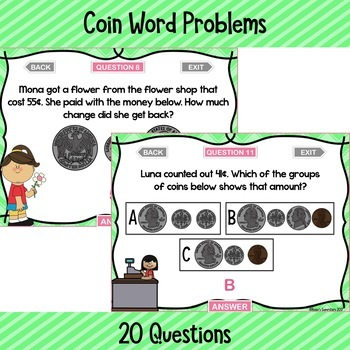 Coin Word Problems Digital Game ~ PowerPoint and Version for Google Slides™