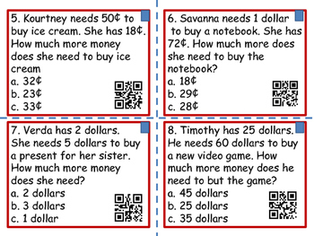 Coin Word Problems with and without QR Codes