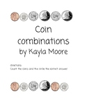 Coin combination worksheet