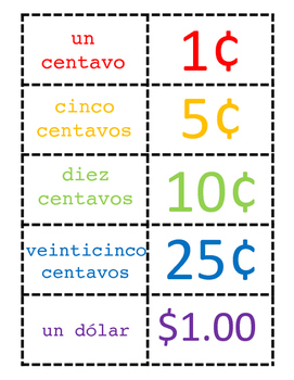 Coin memory match in SPANISH