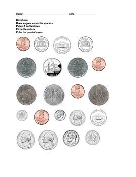 Coin Sort Worksheet