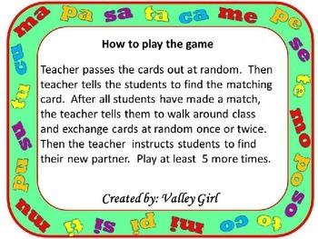 Match Mine: Spanish Syllables M, P, S, T y C - Coincidir conmigo