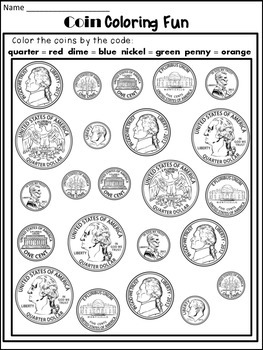 Money Worksheets: Coin Identification Worksheets and Poster