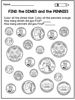 Money Worksheets for Kindergarten and First Grade by Dana ...