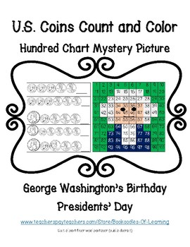 Coins Count & Color Presidents' Day George Washington Hundred Chart Mystery Pic