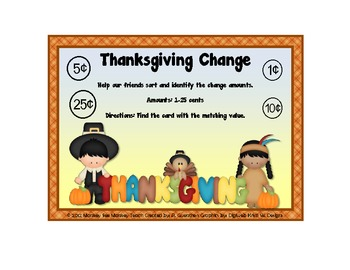Coins: Counting Coins 1-25 cents / Thanksgiving