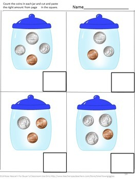 Money Skills For Special Education, Coins Cut and Paste Activities, Kindergarten