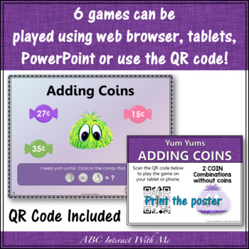 Coins! Interactive Math Games Adding and Identifying Coins BUNDLE {Yum Yums}
