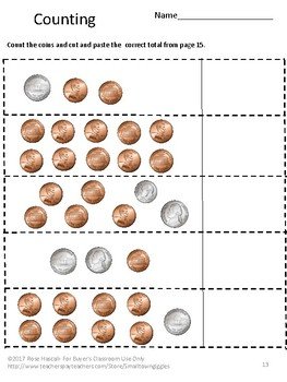 Coin Counting Cut and Paste Life Skills Special Education Interactive Notebook