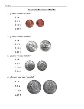 Coins Math Test in Spanish - Monedas