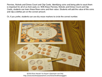 Money Skills for Special Education,Count and Clip, Pennies Nickels Dimes