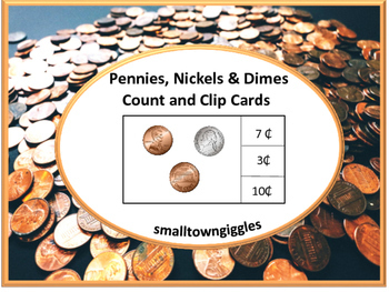 Coin Counting and Clip Cards Life Skills Center Pennies Nickels Dimes Fine Motor