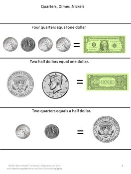 Coin Counting, Money Skills for Special Education, Quarters Half Dollars Dollars