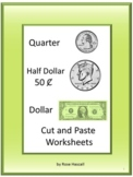 Coin Cut Paste Life Skills for Special Education Quarters Half Dollars Dollars