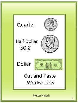 coin cut paste life skills for special education quarters half dollars dollars. Black Bedroom Furniture Sets. Home Design Ideas