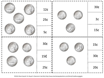 Money Skills for Special Education,Count and Clip, Quarters Dimes Nickels