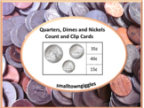 Money Counting and Clip Task Card Life Skills Fine Motor Quarters Dimes Nickels