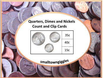 Coins: Quarters, Dimes and Nickels Count and Clip Task Car