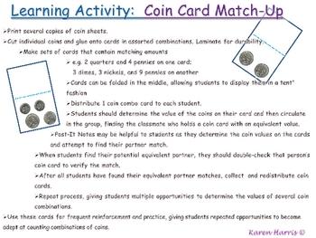 Coins - Student Desktags & Coin Combo Activity