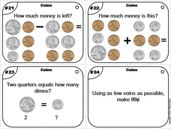 Counting Money Mixed Coins Task Cards for 2nd to 4th Grade