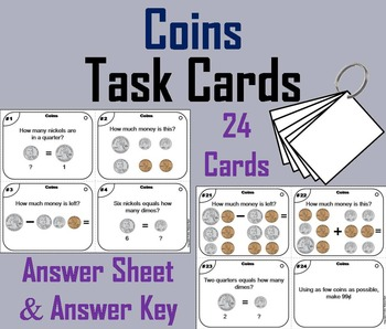 Counting Coins Task Cards/ Money Math Task Cards/ Counting