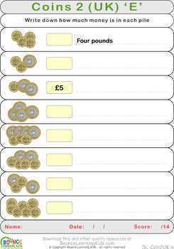 Learn to count with British coins 2 (18 distance learning worksheets for Money)