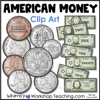 coins us money clip art by whimsy workshop teaching tpt