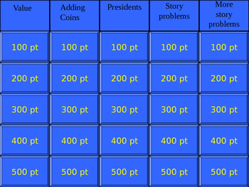 Coins and Money Jeopardy Game