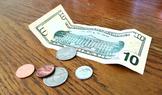 Coins and Ten Dollar Bill