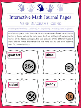Coins and Venn Diagrams -- activity based journal pages for K - 2nd grade math