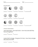 Coins and simple number sentences worksheet - A