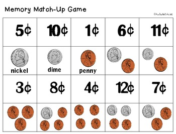 Coins in My Pocket: Money Math Center & Printables-black&white version included