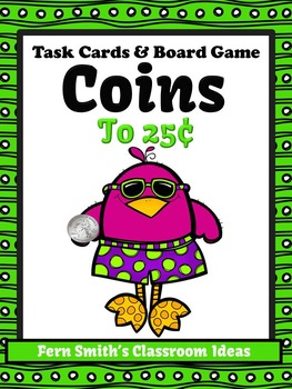 Money Task Cards and Board Game for Coins to 25 Cents Recording Sheets Included